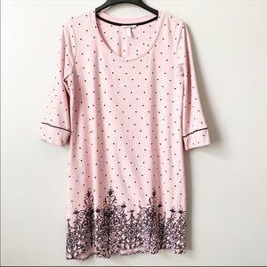 Soma Pink Polka Dot Graphic Sleep Shirt